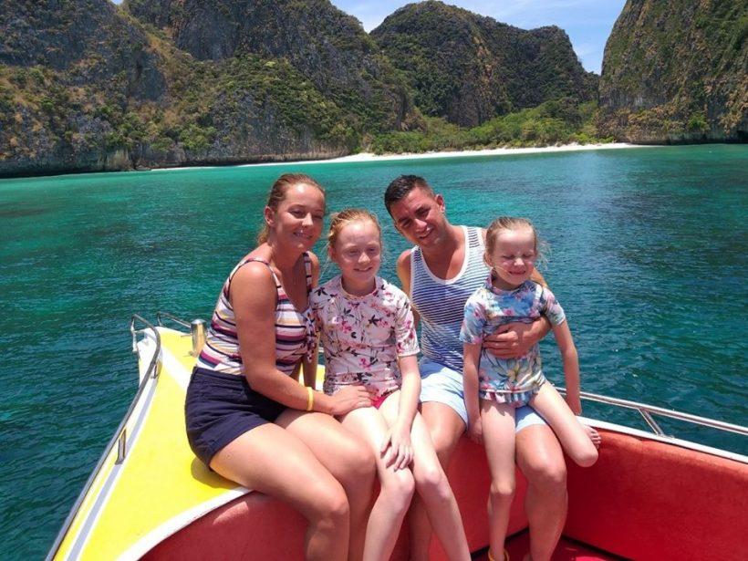 family at phi phi maya bay