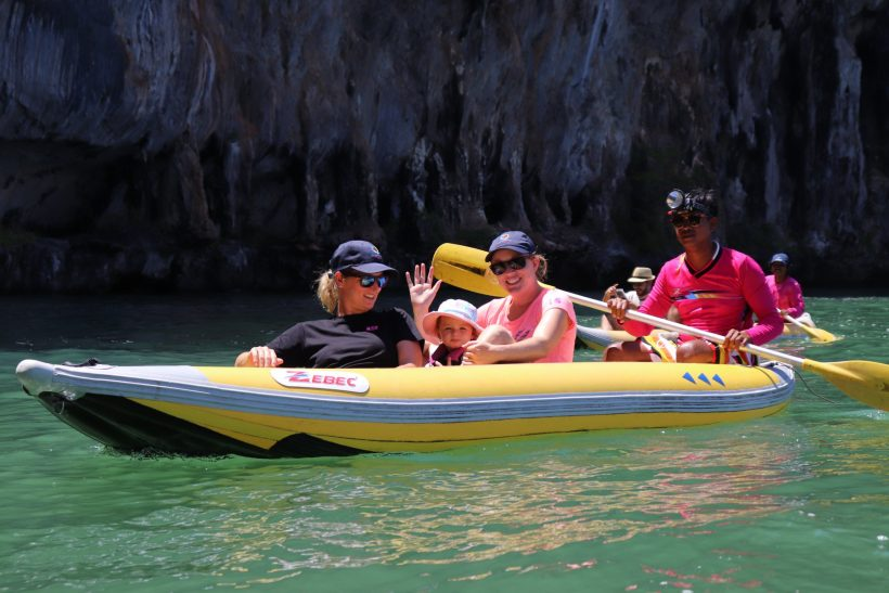 baby in canoe james bond island